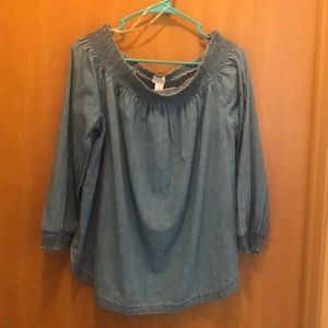 NWT Francesca's chambray off the shoulder top